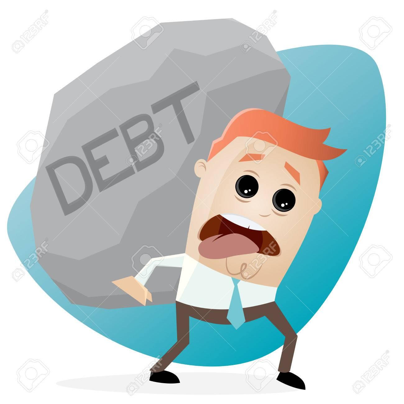 clipart of businessman carrying a big debt rock.