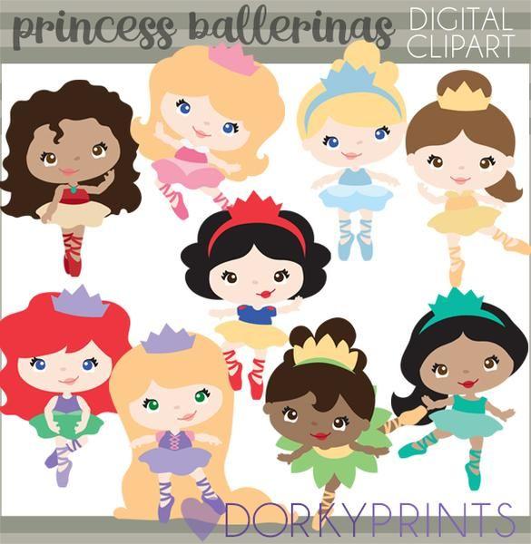 Princess Ballerina Character Clipart.