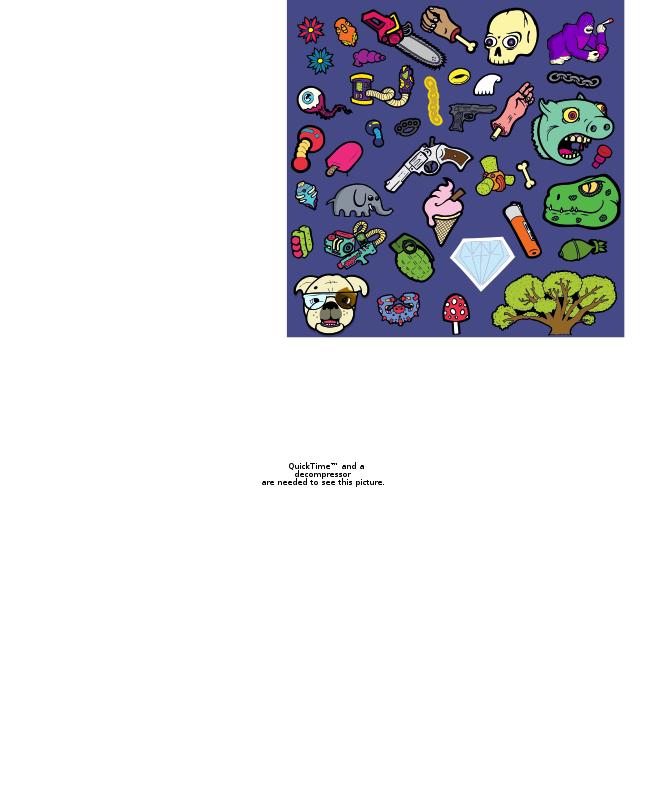 Free Clipart: A selection of cartoony characters and objects.