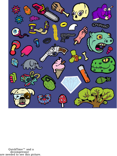 Vector illustration of cartoon characters selection.