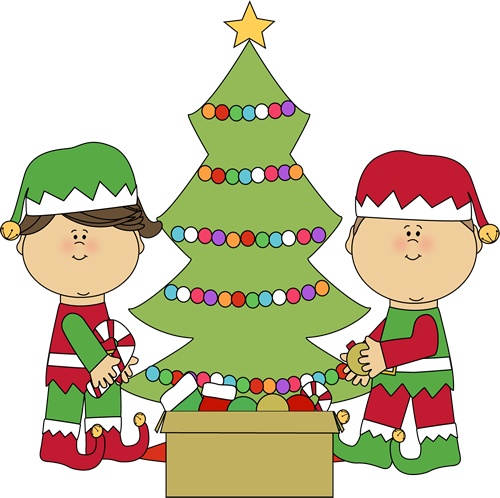 Elves Decorating a Christmas Tree.