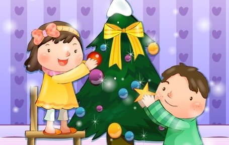 Boy and Girl decorate the Christmas tree Clipart Picture.