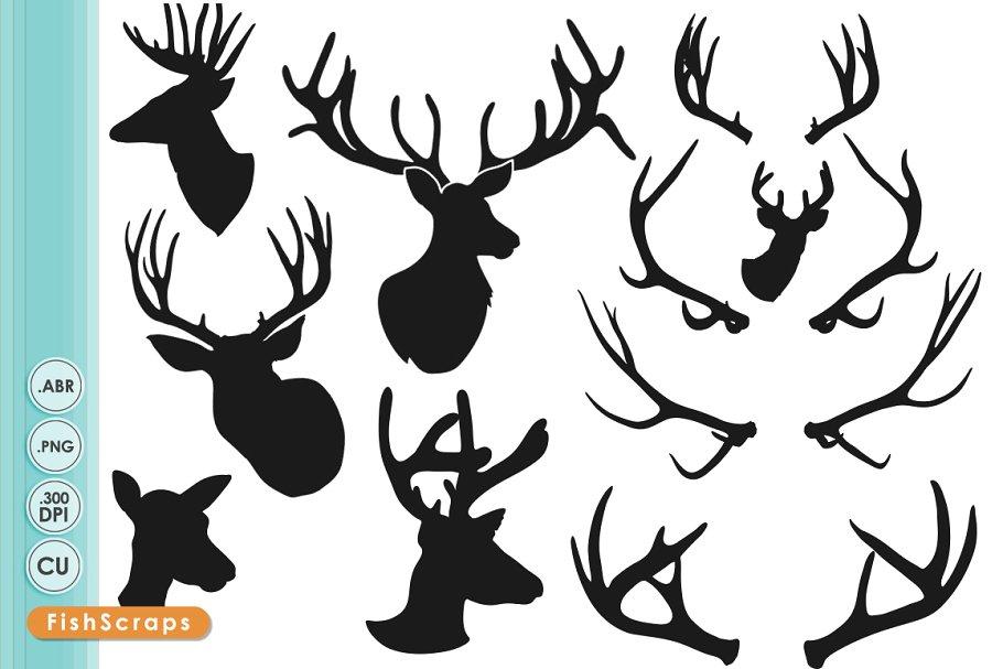 Deer Head Silhouettes.