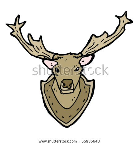 Stag Head On Wall Cartoon Stock Vector 55935640.