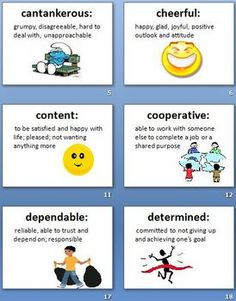 Character Traits Adjectives definitions and activity packet.