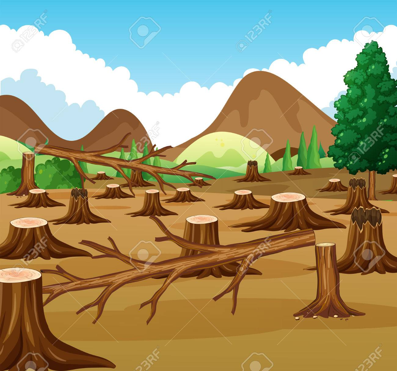 Mountain scene with deforestation view illustration.