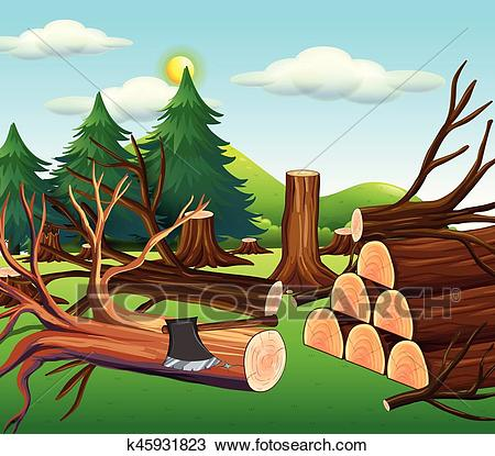 Deforestation scene with chopped woods Clipart.