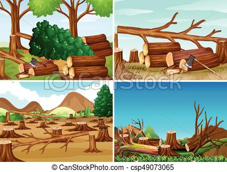 Deforestation scenes with chopped woods.