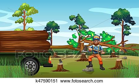 Deforestation scene with lumber chopping trees Clipart.