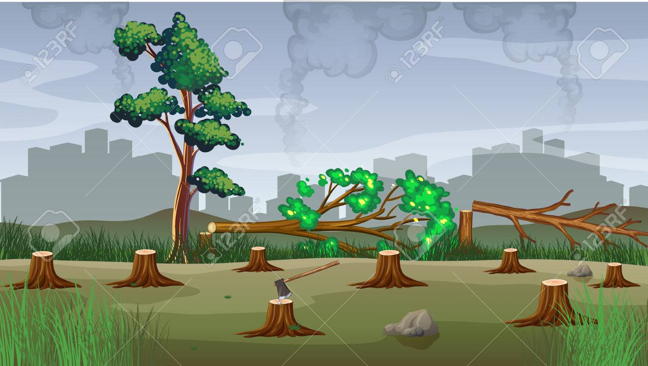 Polution theme with deforestation illustration.