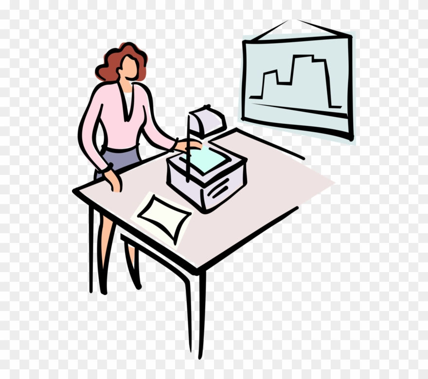 Vector Illustration Of Businesswoman Delivers Presentation.