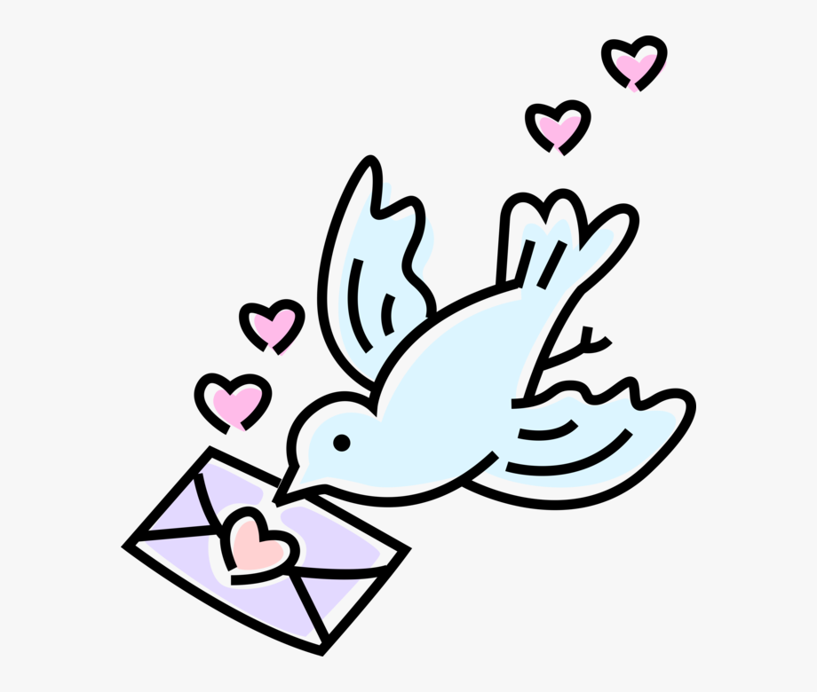 Vector Illustration Of Dove Bird Delivers Love Letter.