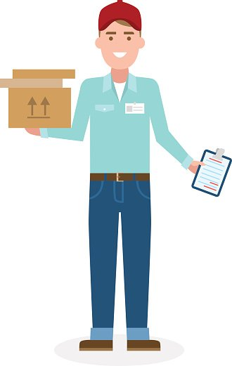 Delivery man with parcel. Clipart Image.