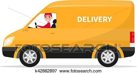 Vector cartoon delivery van truck with deliveryman Clip Art.
