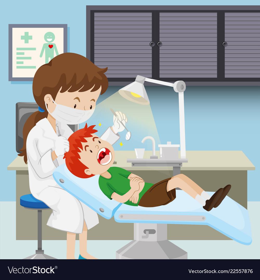 A boy at dental clinic.