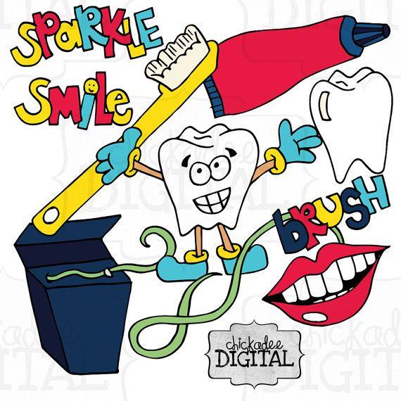 Instant Download Dental Clip Art Dentist by ChickadeeDigital.