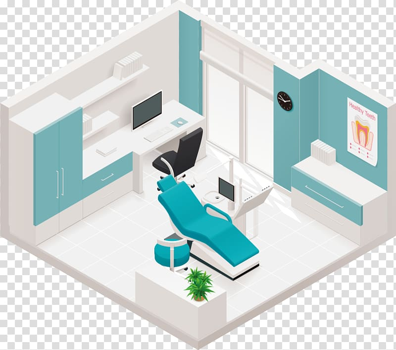 White and blue clinic 3D , Dentistry Clinic Health Care.