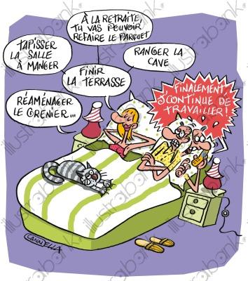 Vive la retraite ? illustration Départ libre de droit sur.