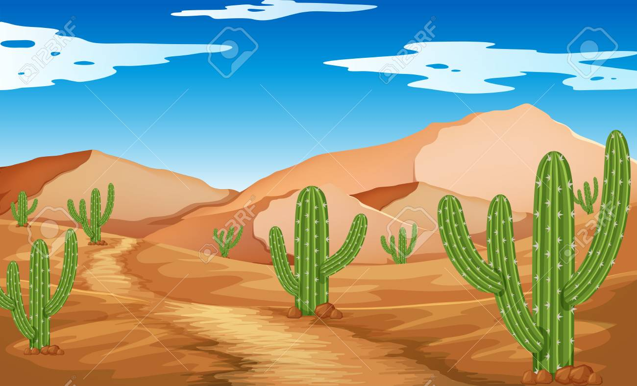 Desert scene with mountains and cactus illustration.