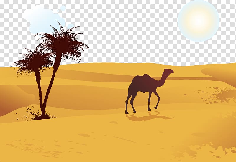Camel on desert illustration, Camel Desert Computer file.