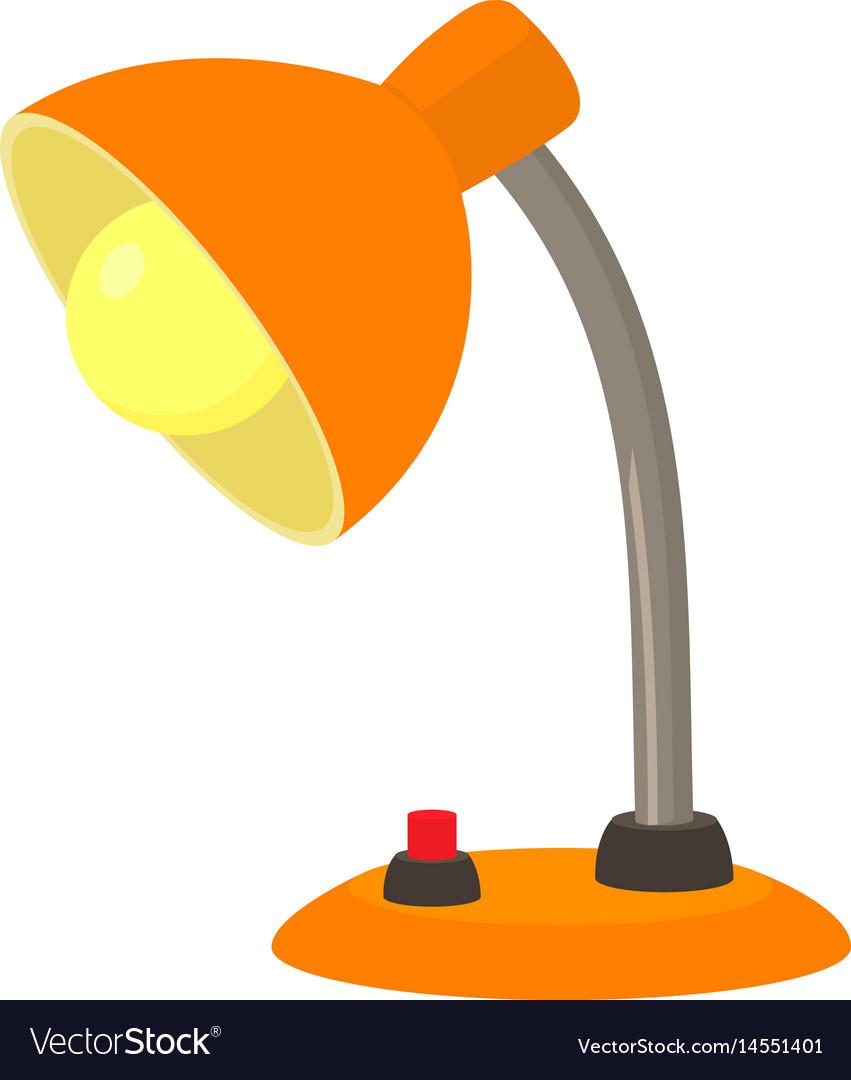 Orange desk lamp icon cartoon style.