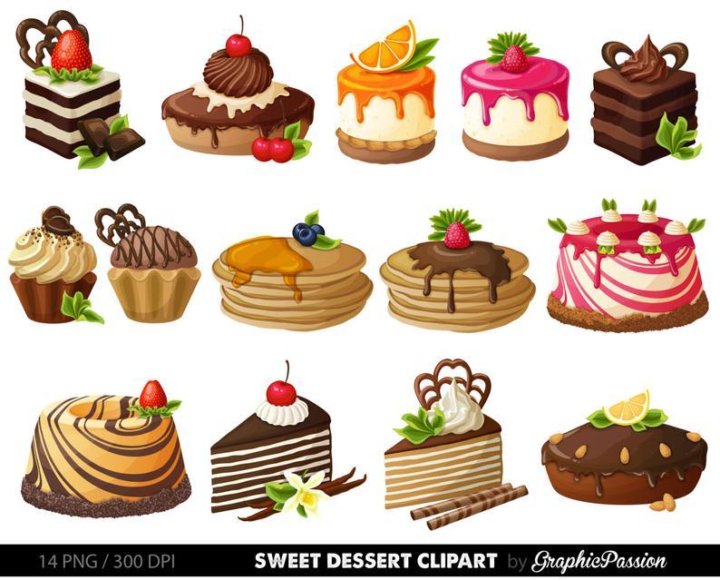 Cake Digital Clipart Pastry Clip art Sweet Treat Cake clip art Dessert  Vector graphic Digital scrapbooking Card design invitations.