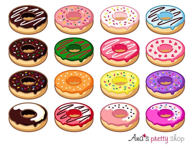 Donut clipart, doughnut clipart, sweet clipart, dessert clipart, pastry  clipart, birthday clipart.