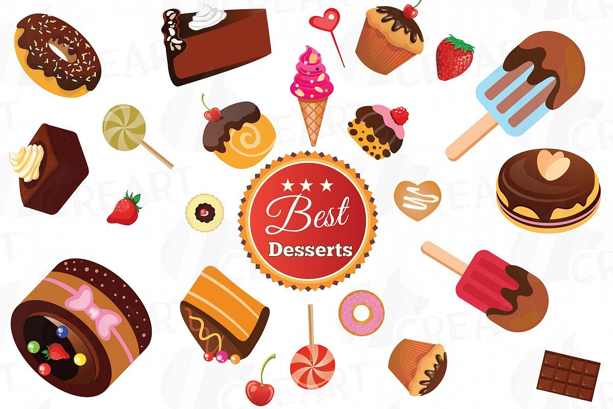 Desserts Clipart collection, delicious cakes vector and png.