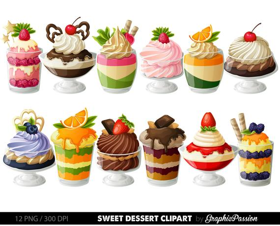 Desserts Digital Clipart Cake Clip art Sweet Treat Digital illustrations  Dessert Vector graphic Pastry clipart Card design invitations.