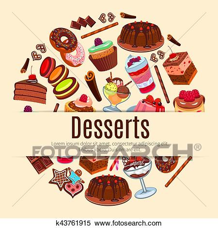 Desserts vector poster for pastry or patisserie Clipart.