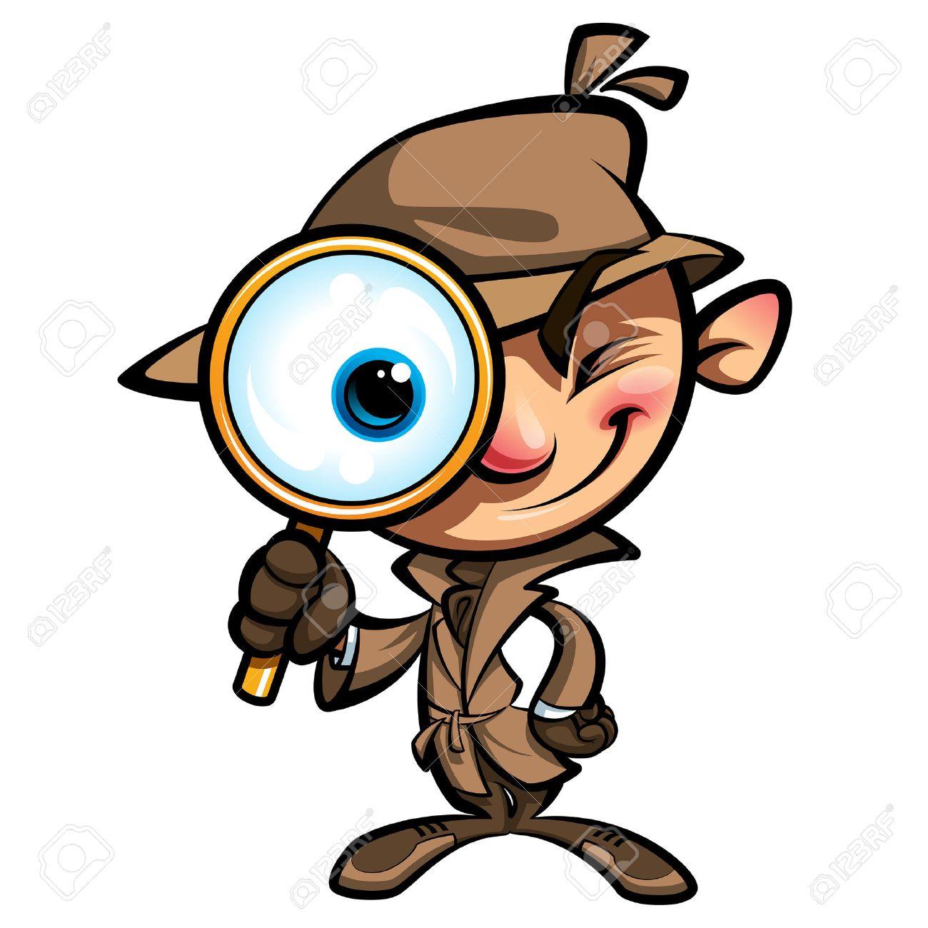 Cartoon smart detective in investigation with brown coat looking...