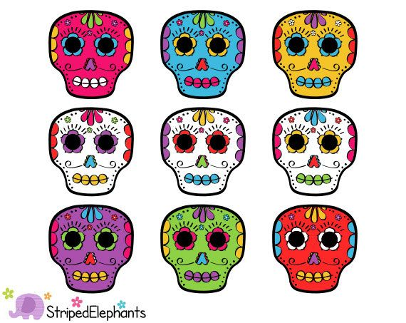 Day of the Dead Skulls Clip Art, Calaveras clipart, Día de Muertos.