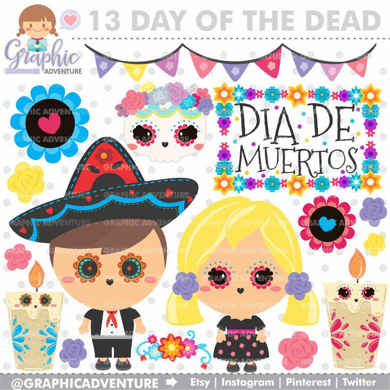 Day of the Dead Clipart, Dia de los Muertos Clipart, COMMERCIAL USE, Sugar  Skull Cliparts, Halloween Clipart, Dia de los Muertos Party.