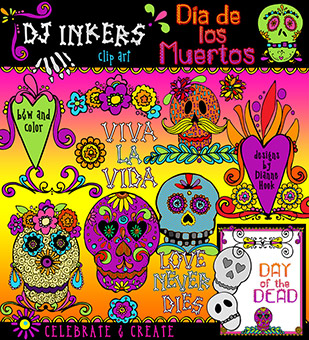 Fabulous clip art & sugar skull smiles to celebrate the Day of the.