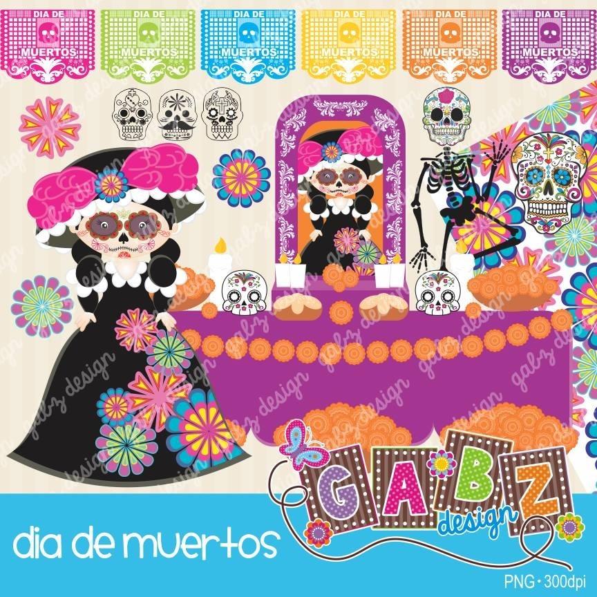 Kit Imprimible Dia De Muertos 7 Imagenes Clipart.