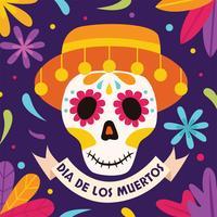 Dia De Los Muertos Skull Free Vector Art.