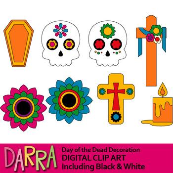 Day of the dead clipart (Dia de los Muertos) Decoration clip art.