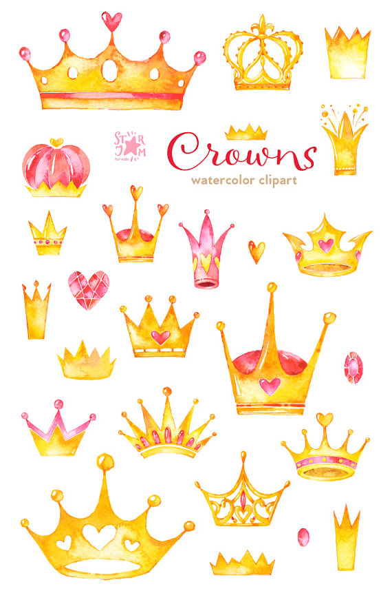 Crowns. Watercolor clipart diadem gold queen by.