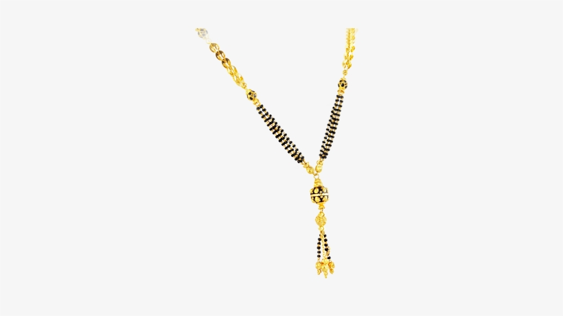 Trendy Mangalsutra With Black Beads In 22kt Yellow.
