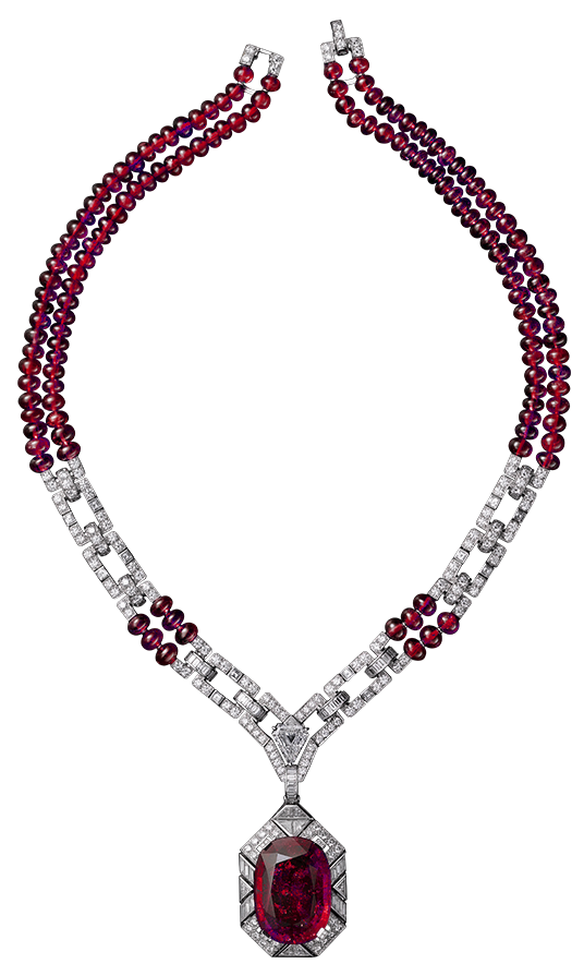 Red and White Diamond Necklace PNG Clipart.