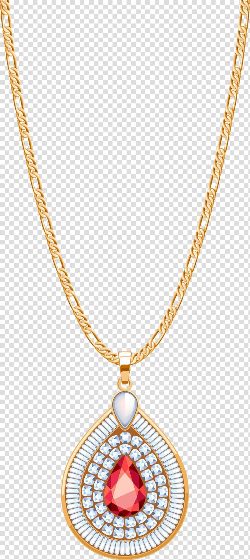 Locket Jewellery Necklace Diamond, Golden Gemstone Necklace.