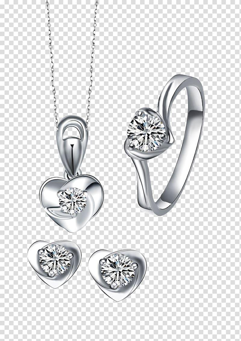 Locket Earring Necklace, Diamond Set transparent background.