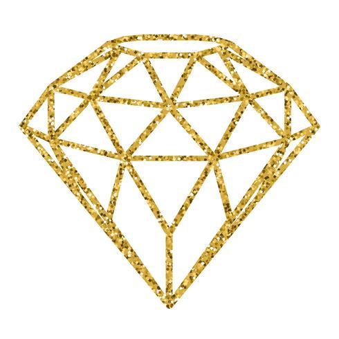 Geometrical golden glitter diamond isolated on white.