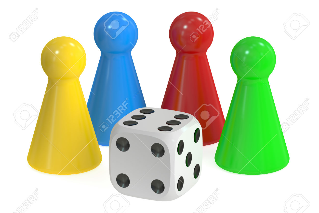 Board Game Pieces And Dice, 3D Rendering Isolated On White.