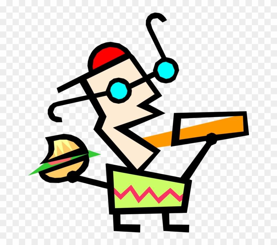 Vector Illustration Of Modern Art Kid Gets Fast Food.