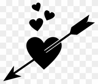 Heart Arrow Rubber Stamp.