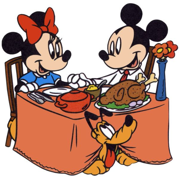 Mickey & Minnie Mouse Thanksgiving Turkey Dinner Clipart.