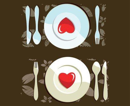 Dinner for Two Clip Art, Vector Dinner for Two.