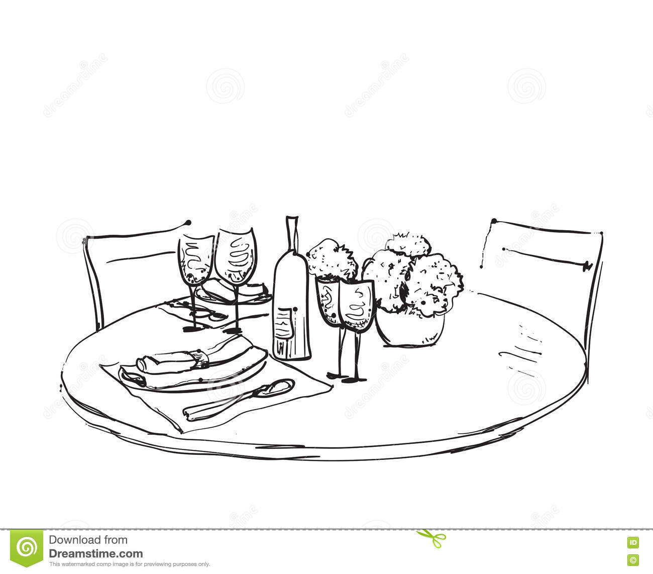 Romantic Dinner Two Table Serving Stock Illustrations.