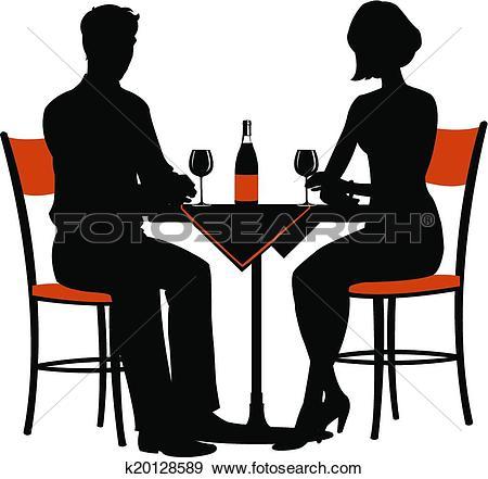 Clip Art of romantic dinner for two k20128589.